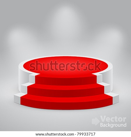 3D empty white podium with red carpet Vector illustration