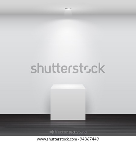 3d Empty white stand for your exhibit. Vector illustration.