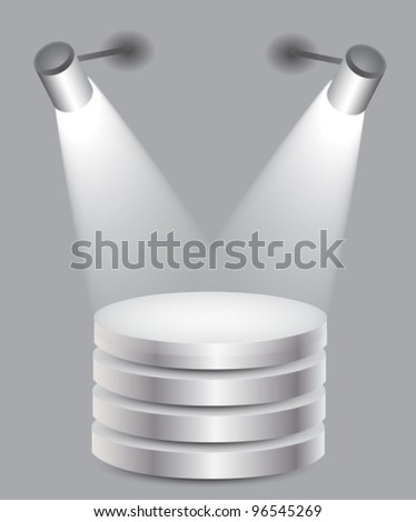 3d Empty white stand with light,vector illustration
