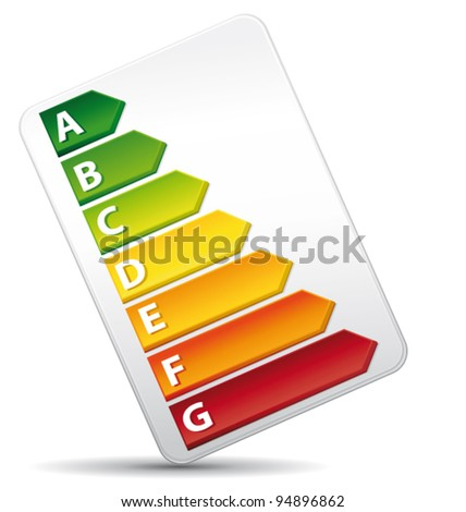 3D Energy Rating Graph diagnosis. Vector icon.
