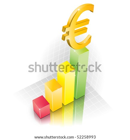 3D Euro Chart illustration width reflection
