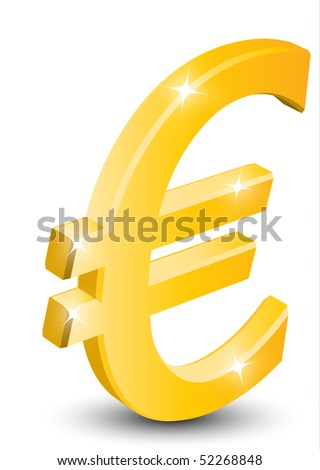 3D euro sign isolated on white background