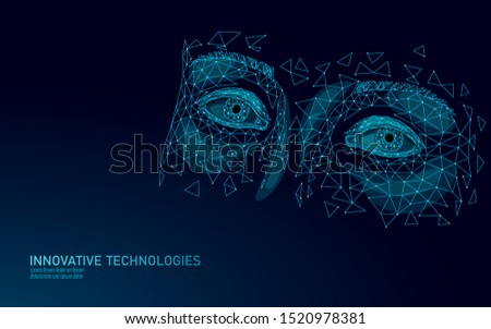 3D eyelid technology low poly design. Skincare treatment adult face salon procedure. Video gaming addiction cyberspace depression concept vector illustration