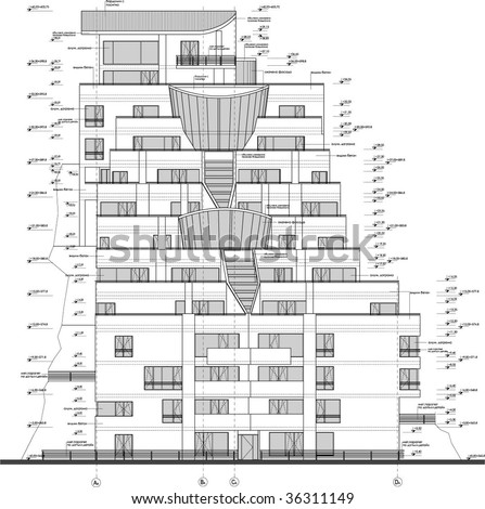 2d facade drawing appartment building stock vector for 2d building drawing