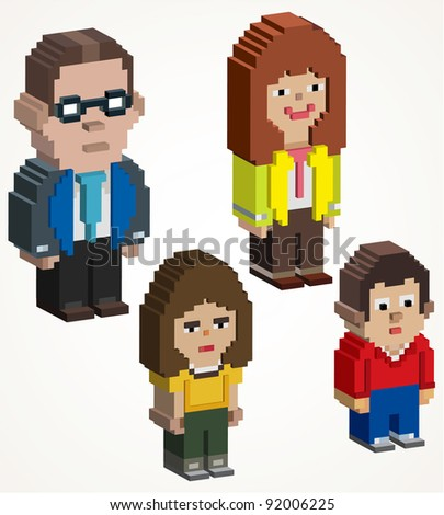 3D family pixel art, 3d maded pixel icon
