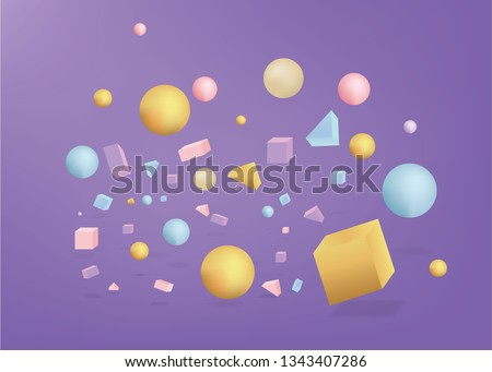 3d figures realistic vector primitives composition abstract minimalism with flying objects and  shapes in motion isolated on purple background. Material design for web and print futuristic decoration  #1343407286