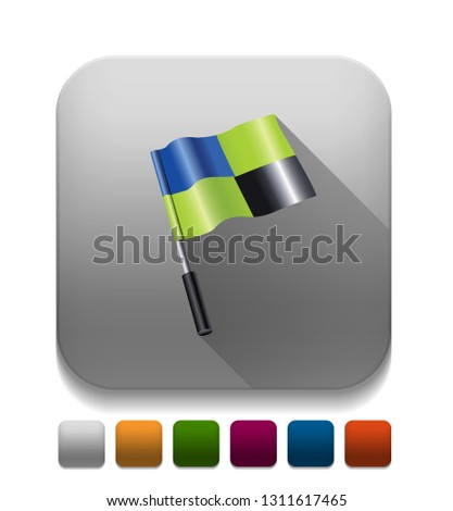 3d flag icon With long shadow over app button