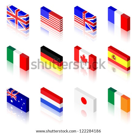 3D flag illustrations. UK, America, France, Italy, Germany, Canada, Spain, Australia, The Netherlands, Japan and Ireland #122284186