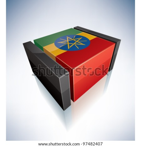 3D flag of Ethiopia