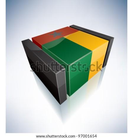 3D flag of Guinea-Bissau
