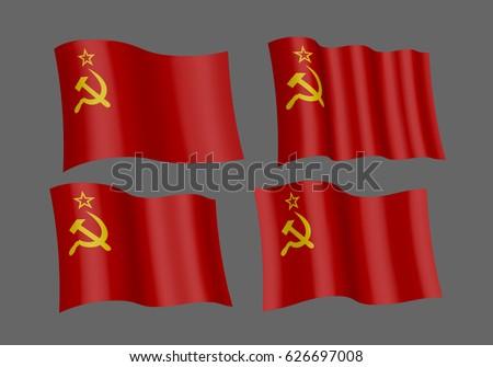 3d flag set of ussr vector