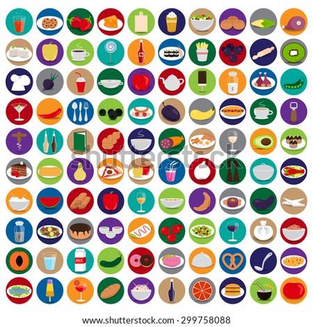 3d flat food icons set  vector