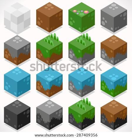 3d flat isometric cubes starter