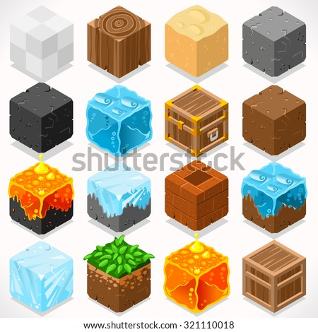 3d flat isometric mine cubes hd