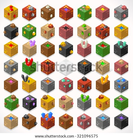 3d flat isometric mine cubes