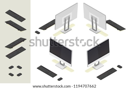 3d flat isometric modern desktop computer with wireless keyboard and mouse. Front and back side view vector icon set.