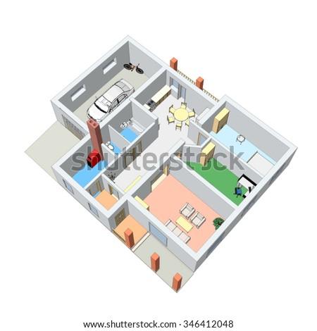 3D floor plan. Vector illustration.