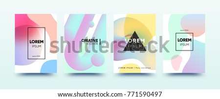 3d fluid abstract covers design set. Modern bubble shapes template with trendy gradient for poster, banner, screen, placard, flyer, brochure. Vector EPS10 illustration.
