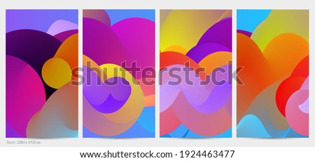 3D fluid wavy shape. Bright cloudy futuristic background. Vibrant gradient flow in abstract music sound waves. Dynamic liquid texture. Creative vector template for trendy post design.