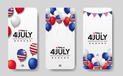3d flying colorful balloon with american flag frame for american independence day 4th july usa with white background