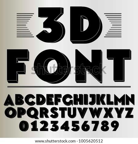 3d font alphabet typeface black vector #1005620512