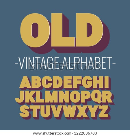 3d font alphabet. vintage style, sanserif font. Letters and numbers. Vector illustration #1222036783
