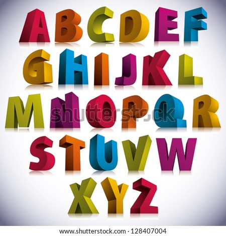 3D font, big colorful letters standing, vector eps 8.