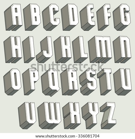 3d font geometric three dimensional letters set monochrome alphabet for design
