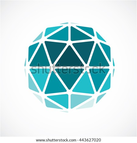 3d form made with black lines, futuristic origami abstract modeling. Green vector low poly design element, cybernetic orb shape for use in science and technology.