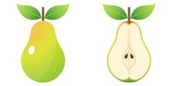 2D Fruit Cartoon Vector - Fresh Ripe Pear Fruit Front View And Inside Cut In Half Isolated On White Background