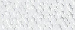 3D Futuristic honeycomb mosaic white background. Realistic geometric mesh cells texture. Abstract white vector wallpaper with hexagon grid.