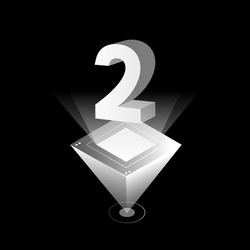 3d futuristic silver white solid number vector on pyramid platform, shiny digital isometric count illustration & spotlight shimmer at light rhombus stage, technology typography number two 2 symbol