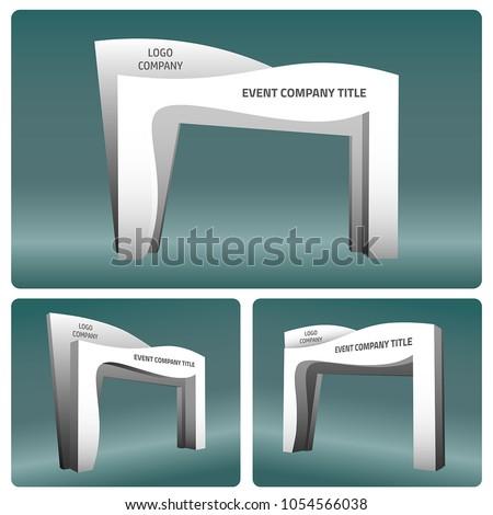 3d gate entrance abstract style vector editable