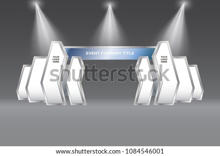 3d gate entrance digital abstract style with spotlight logo. Vector editable.