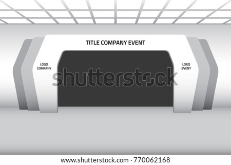 3d gate entrance exhibition vector editable with modern style