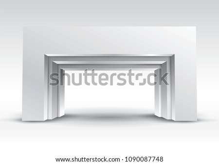 3d gate entrance exhibition vector editable with modern style on isolated background