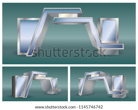 3d gate entrance for exhibition. Vector editable.