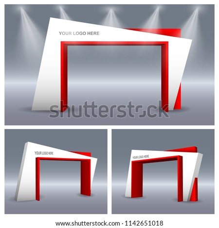 3d gate entrance modern abstract style with spotlight for exhibition. Vector editable.