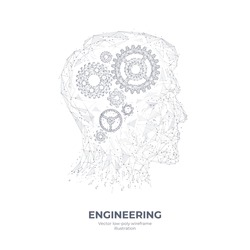 3d gears in head digital low poly hand drawing. Engineering, mechanical technology, a symbol of thinking, or idea concept isolated in white. Abstract vector sketch illustration with lines and dots