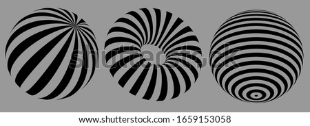 3D geometric striped rounded shape. Sphere. Illusion effect. The Ball. Black color. Stylised modern minimalistic graphic design. Decoration element. Vector EPS 10.  Foto stock ©