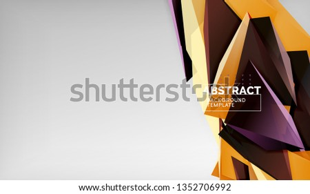 3d geometric triangular shapes abstract background, color triangles composition on grey backdrop, business or hi-tech conceptual wallpaper, vector illustration #1352706992