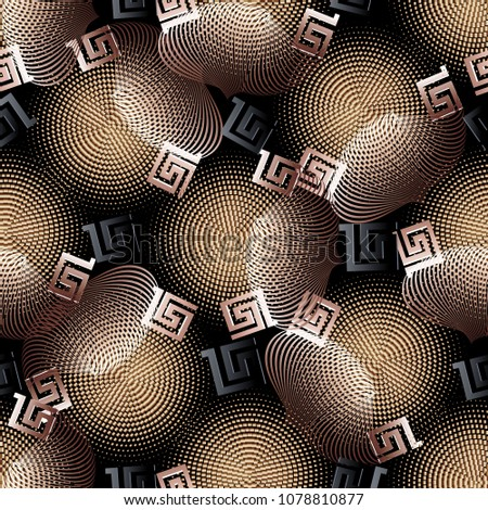 3d geometric vector seamless pattern. Modern abstract patterned greek background. Textured ornaments. Geometric shapes, halftones, lines, dots, fractals, circles, greek key, meanders. Luxury design