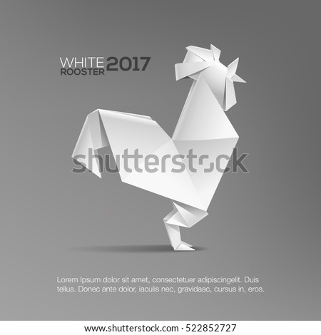 3D Geometric White Rooster vector template isolated from grey. Realistic origami style rooster. Template for cover design