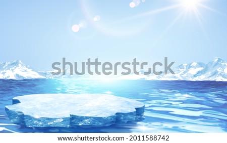 3d glacier scene design with