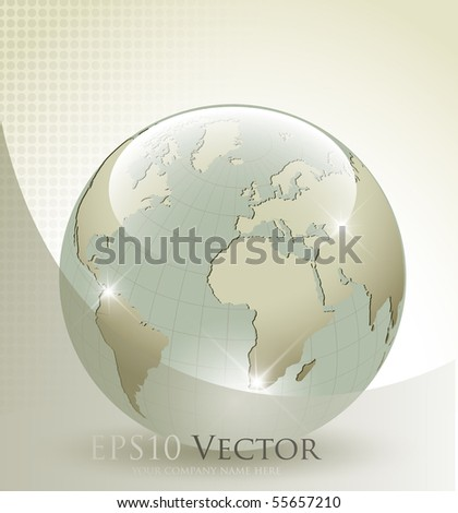 3d glass Earth globe - vector illustration - stock vector