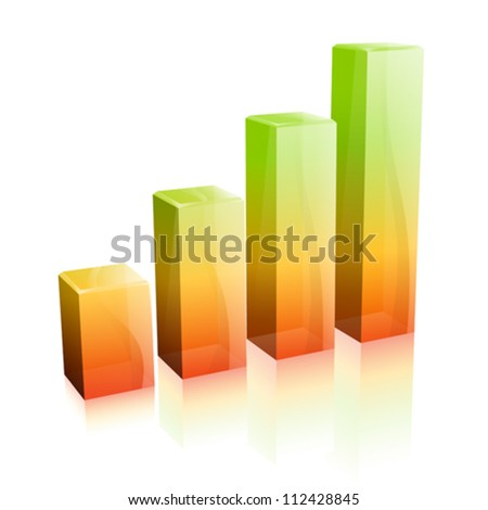 3d glass graph with reflection