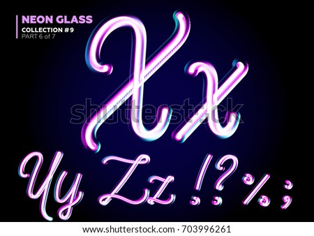 3D Glass Letters with Night Neon Light Effect, Glossy Purple and Blue Colors. Glowing in the Dark Typeset for Party Decoration, DJ Poster, Black Friday Sale Banner, Electronic Music Fest.
