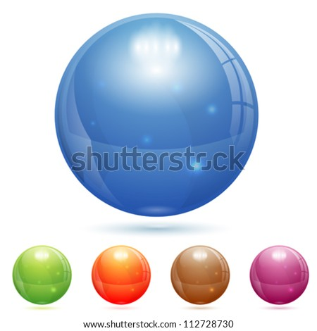 3d glass marble ball in
