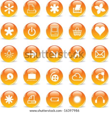 3d Glass Round Orange Icons