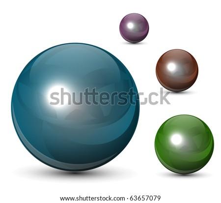 3D glass spheres,  balls set, vector.